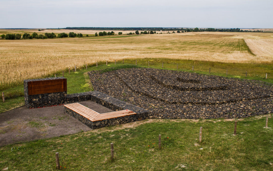 The site of the mass grave in Kysylyn is now protected from agricultural use, July 2015