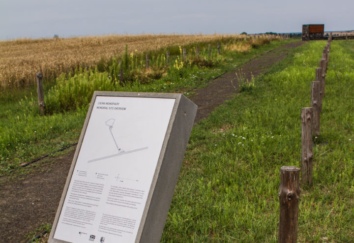 The memorial site in Kysylyn is at the end of a 100-metre path leading off a dirt track, July 2015