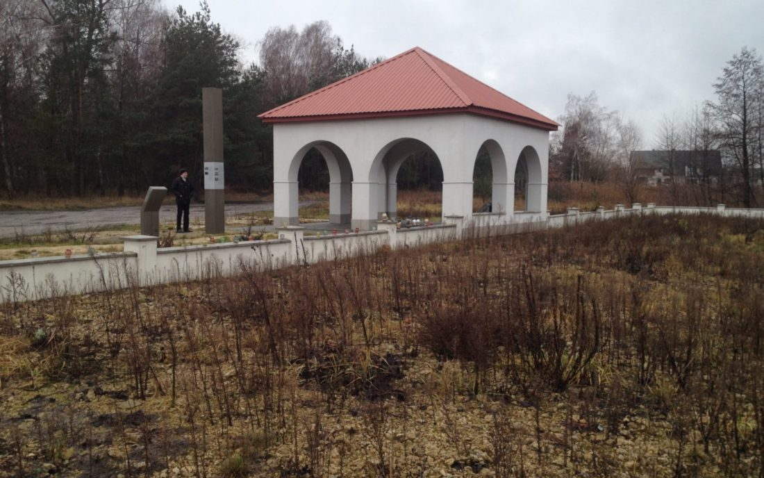 Pavilion with memorial stone and information stele outlining the history of Jews in Rava-Ruska, December 2015
