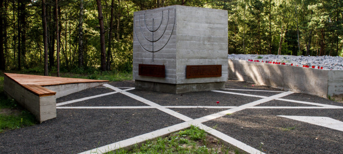 Three-metre high cube with memorial plaques and symbolic Star of David set into the ground, Prokhid memorial site, July 2015