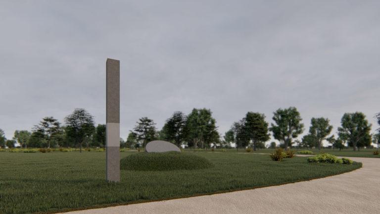 Der architektonische Entwurf von Taras Savka aus Lviv mit der Informationsstele und dem Gedenkstein.